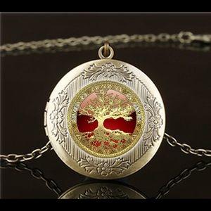 Celtic Gold Tree of Life Photo locket necklace